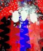 4th July Mixed Media Metal Prints - Celebration 3 Metal Print by Mimo Krouzian