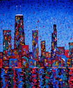 Chicago Landmark Paintings - Celebration City - vertical by J Loren Reedy