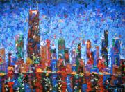 Chicago At Night Paintings - Celebration City by J Loren Reedy