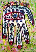 Invitations Paintings - Celebration Hamsa by Sandra Silberzweig