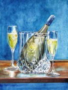 Champagne Glasses Painting Framed Prints - Celebration Framed Print by Jane Loveall