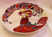 Plate Ceramics Prints - Celebration Platter Print by Lisa Dunn
