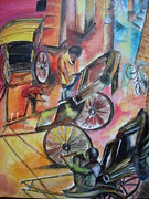 Hand Pulling Rickshaw Metal Prints - Celebration Metal Print by Prasenjit Dhar