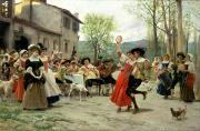 Old Buildings Paintings - Celebration by William Henry Hunt