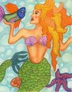 Blue Jewelry Posters - Celeste the Mermaid Poster by Norma Gafford