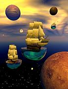 Sailing Ship Digital Art Prints - Celestial armada Print by Claude McCoy