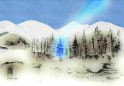 Snowy Trees Mixed Media - Celestial Beam by Arline Wagner