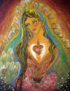 Transformation Mixed Media Prints - Celestial Goddess Print by Alma Yamazaki
