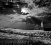 White Church Prints - Celestial Lighting Print by Meirion Matthias