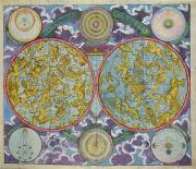 Stars Drawings - Celestial Map of the Planets by Georg Christoph Eimmart