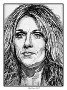 Rhythm And Blues Drawings Posters - Celine Dion in 2008 Poster by J McCombie