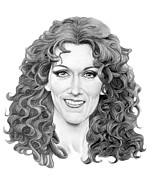 Famous People Drawings - Celine Dion by Murphy Elliott