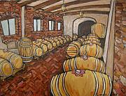 Piedmont Paintings - Cellar at Langasco by Leslie Alexander