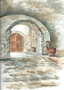 Napa Valley Vineyard Paintings - Cellar Entrance at Mondavi by Mary Dunham Walters
