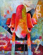 Jazz Artwork Painting Originals - Cello Head in Blue and Red by Susanne Clark