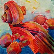 Notes Paintings - Cello Head in Red by Susanne Clark