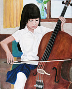 Musician Paintings - Cello Practice by Charlie Harris