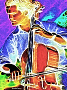 Player Mixed Media Acrylic Prints - Cello Acrylic Print by Stephen Younts