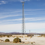 Scrub Brush Framed Prints - Cellular Phone Tower In Desert Framed Print by Paul Edmondson