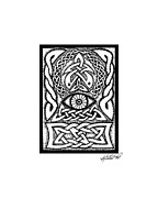Border Drawings - Celtic All Seeing Eye by Kristen Fox