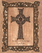Sepia Ink Framed Prints - Celtic Cross Framed Print by Debbie DeWitt
