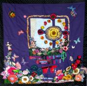 Purple Flowers Tapestries - Textiles Posters - Celtic Cross  Poster by Sarah Hornsby