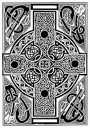 Irish Mixed Media Framed Prints - Celtic Cross tapestry Framed Print by Morgan Fitzsimons