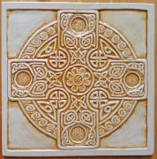 Celtic Ceramics - Celtic cross tile by Shannon Gresham