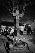 Castleton Prints - Celtic Cross War Memorial In Market Place In The Peak District Village Of Castleton Derbyshire Print by Joe Fox