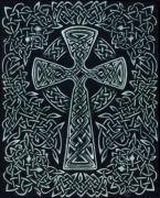 Snakes Drawings Prints - Celtic cross Print by William Burns