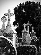 Historic Art - Celtic Crosses at Fuerty Cemetery Roscommon Ireland by Teresa Mucha