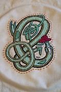 Hand Embroidery Tapestries - Textiles - Celtic Dragon Embroidery Letter E by Donna Huntriss