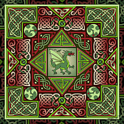 Dungeon Mixed Media - Celtic Dragon Labyrinth by Kristen Fox