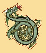 Donna Huntriss Metal Prints - Celtic Dragon Manuscript D Metal Print by Donna Huntriss