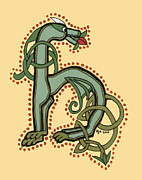 Donna Huntriss Metal Prints - Celtic Dragon Manuscript H Metal Print by Donna Huntriss