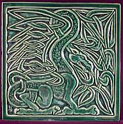 Celtic Ceramics - Celtic dragon tile by Shannon Gresham