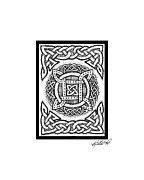 Border Drawings - Celtic Four Square Circle by Kristen Fox