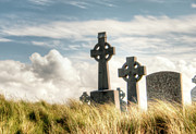 Aran Islands Framed Prints - Celtic Grave Markers Framed Print by Natasha Bishop