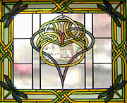 Dragonflies Glass Art Posters - Celtic Heart Poster by Jane Croteau