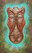 Horse Reliefs Framed Prints - Celtic Horse Head Mask Framed Print by Zoran Peshich