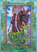Jim Fitzpatrick Posters - Celtic Irish Christian Art - St. Patrick Poster by Jim FitzPatrick