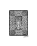 Border Drawings - Celtic Knotwork Bare Branches by Kristen Fox