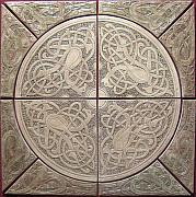 Carved Ceramics - Celtic Knotwork ceramic tile set by Shannon Gresham