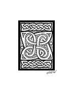 Border Drawings - Celtic Knotwork Cloverleaf by Kristen Fox