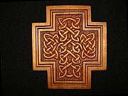 Woodcarving Reliefs Originals - Celtic Knotwork Cross Plaque by Shane  Tweten