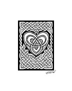 Border Drawings - Celtic Knotwork Heart by Kristen Fox