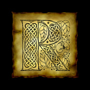 Manuscript Mixed Media - Celtic Letter R Monogram by Kristen Fox