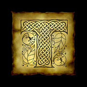 Manuscript Mixed Media - Celtic Letter T Monogram by Kristen Fox