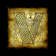 Drawn Mixed Media Prints - Celtic Letter V Monogram Print by Kristen Fox