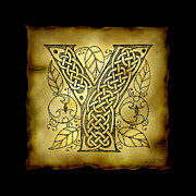 Manuscript Mixed Media - Celtic Letter Y Monogram by Kristen Fox